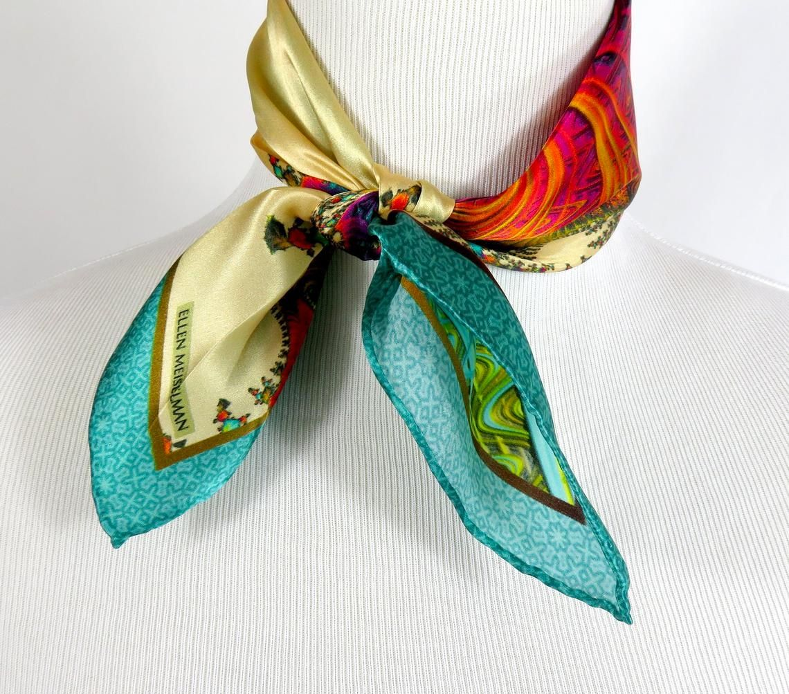 Silk scarves with exquisite pattern details